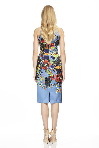 Printed Blue Cocktail Dress
