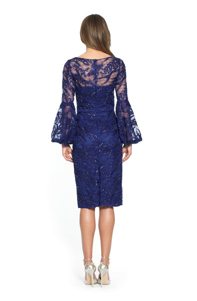 Full Sleeve Sequin Embroidered Cocktail Dress