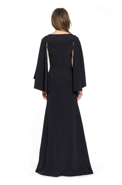 Long Sleeve Beaded Boat Neck Gown