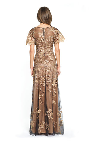 Embroidered Copper and Black Gown