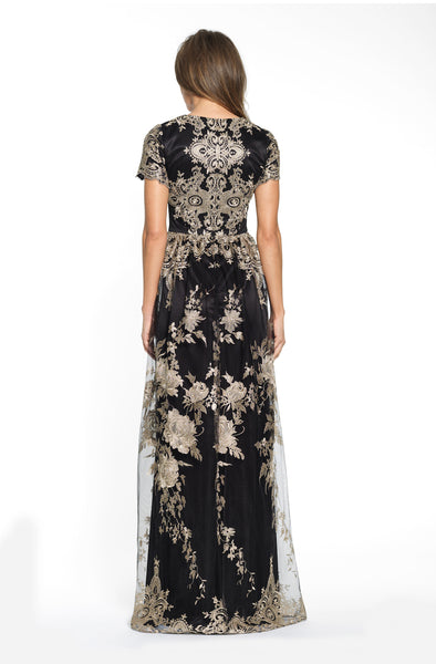 Embroidered Lace Detail Godet Gown