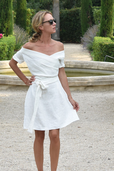 Marguerite White Linen Dress (Pre-Order; Ships Sept 10)