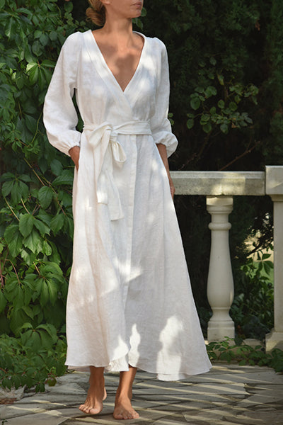 Anaïs Linen Wrap Dress in White (Pre-Order: Ships March 25th)
