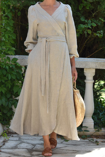 Anaïs Linen Wrap Dress in Stone (Pre-Order - Ships Sept 7)