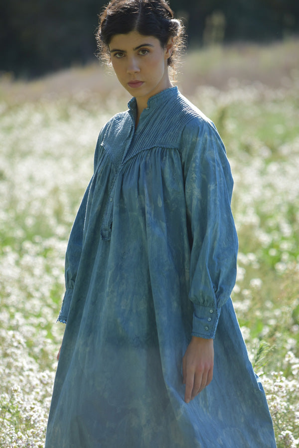Early 20th Century French Cotton Dress in Indigo