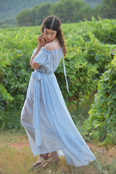 Athena Dress in Short Sleeves, Bleu Fleur Silk Voile (Pre-Order, Ships Mar 31)
