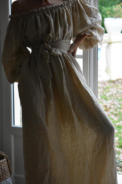 Athena Dress in Hand-Frayed Linen in Natural (Pre-Order, Ships May 11)