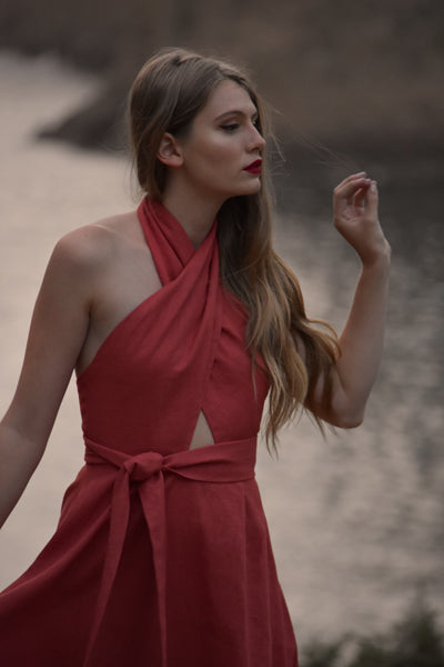 Bianca Linen Criss Cross Halter Dress in Terracotta (Pre-Order, Ships Feb 15)
