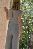 Estelle Linen Jumpsuit in Pinstripes (Pre-Order; Ships Feb 15th)