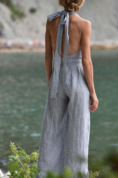 Camille Striped Linen Jumpsuit