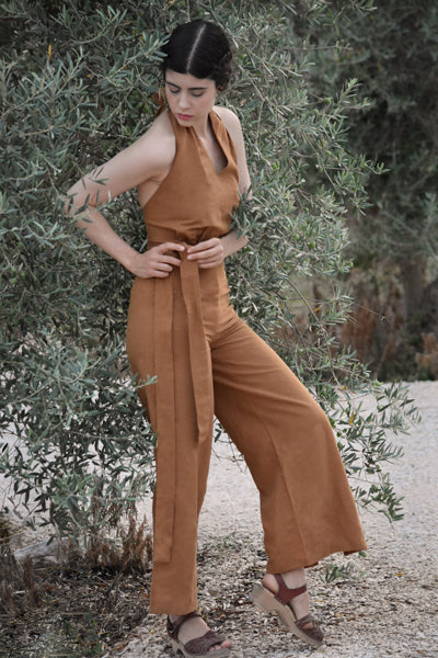 Camille Linen Blend Jumpsuit in Almond