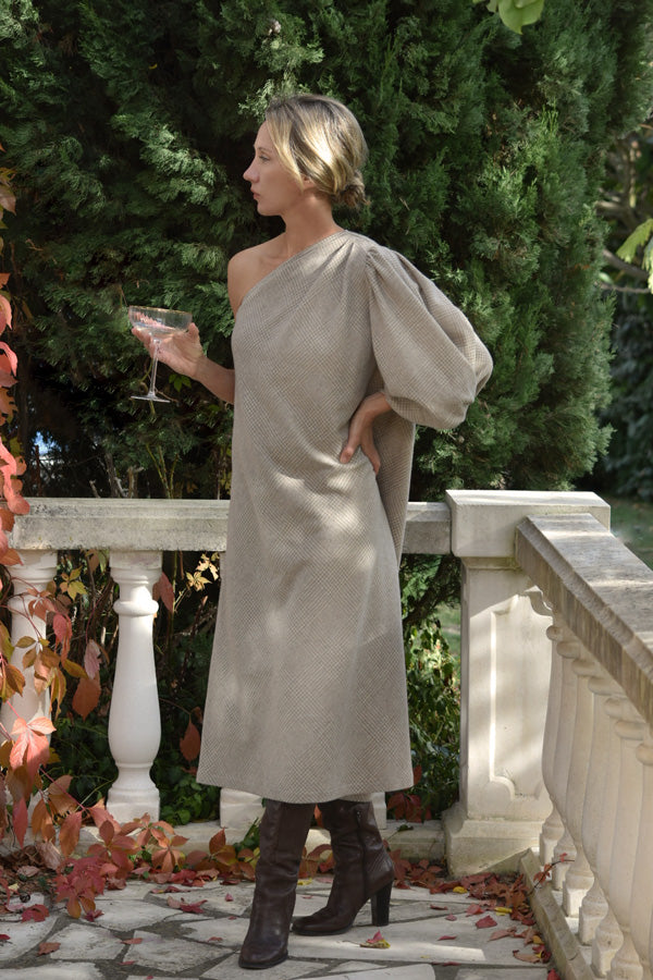 Carine Asymmetrical Wool Cashmere Dress (Pre-Order, Ships Feb 28)