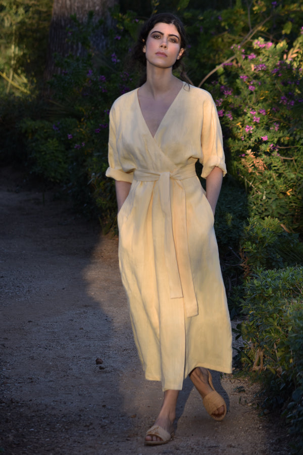 Coco Midi Linen Dress in Blé (Pre-Order, Ships May 25)