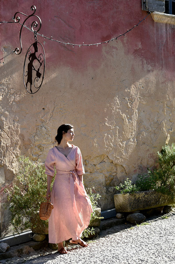 Anaïs Linen Wrap Dress in Rose (Pre-Order, Ships May 28)