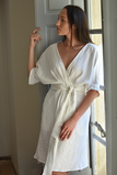 Coco Linen Dress (White or Deep Olive)