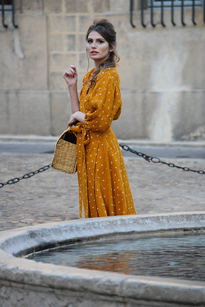 Édith Dot Linen Wrap Dress in Mustard (Pre-Order, Ships Oct 28)