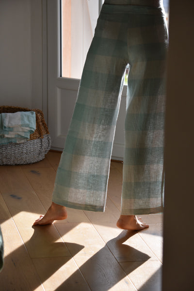 Chloe Linen Trousers in Vichy Mint Cream