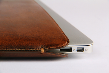 MacBook Air Light Brown Cowboy Premium Leather Sleeve - VORYA