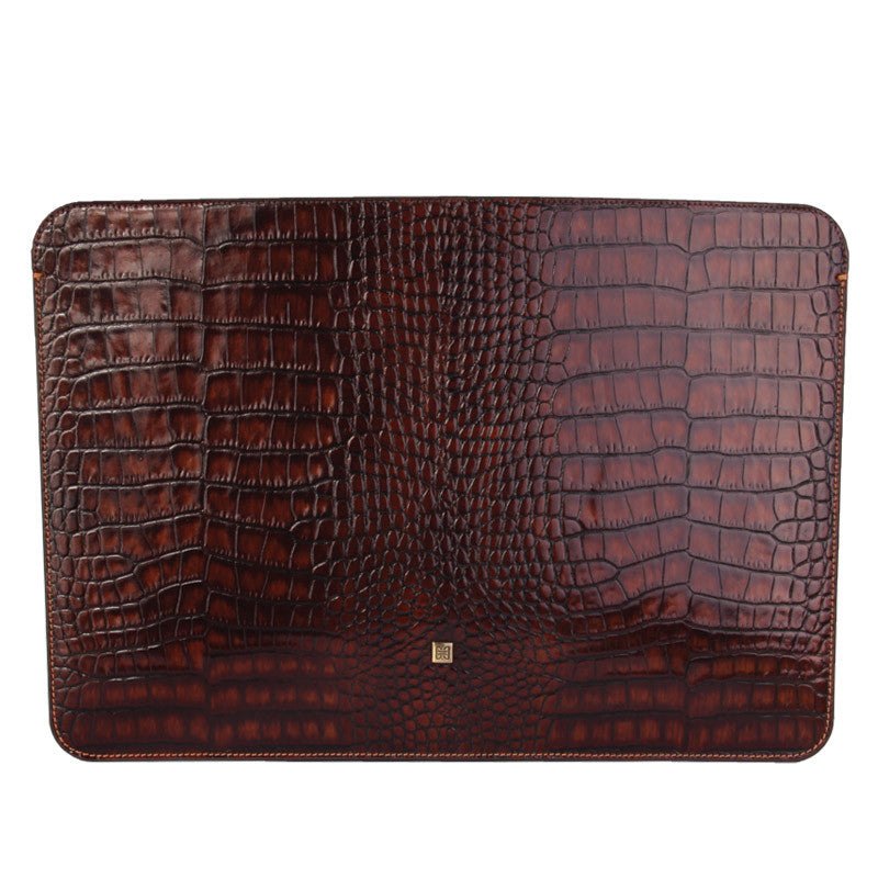MacBook Air Hazelnut Croco Premium Leather Sleeve - VORYA
