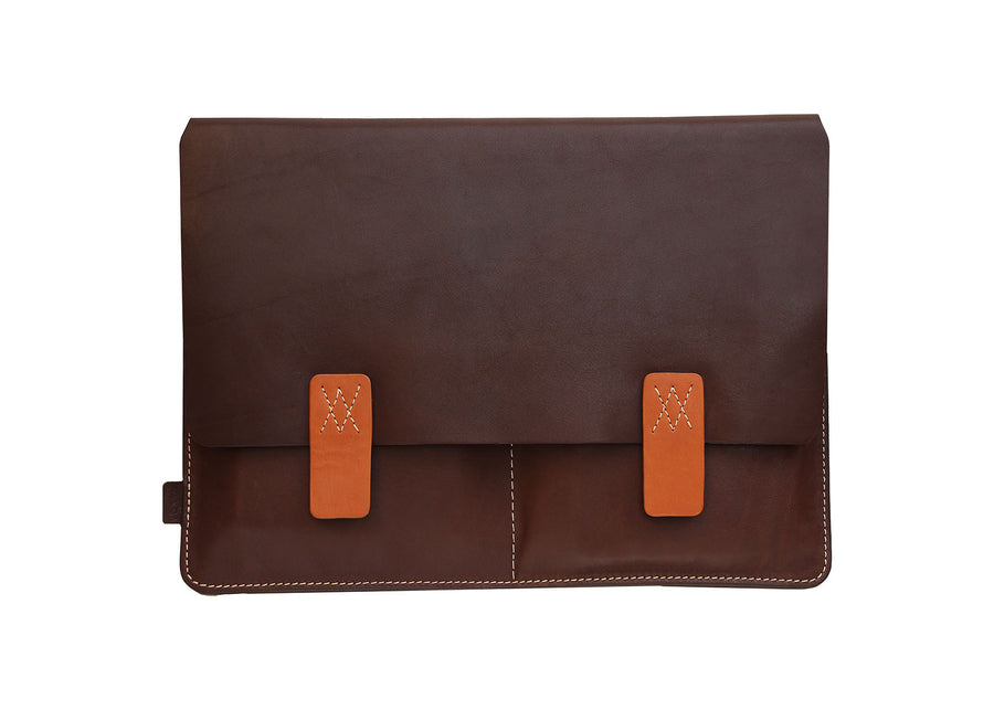 Dark Brown Premium Natural Leather Portfolio / Cover for MacBook Retina 13