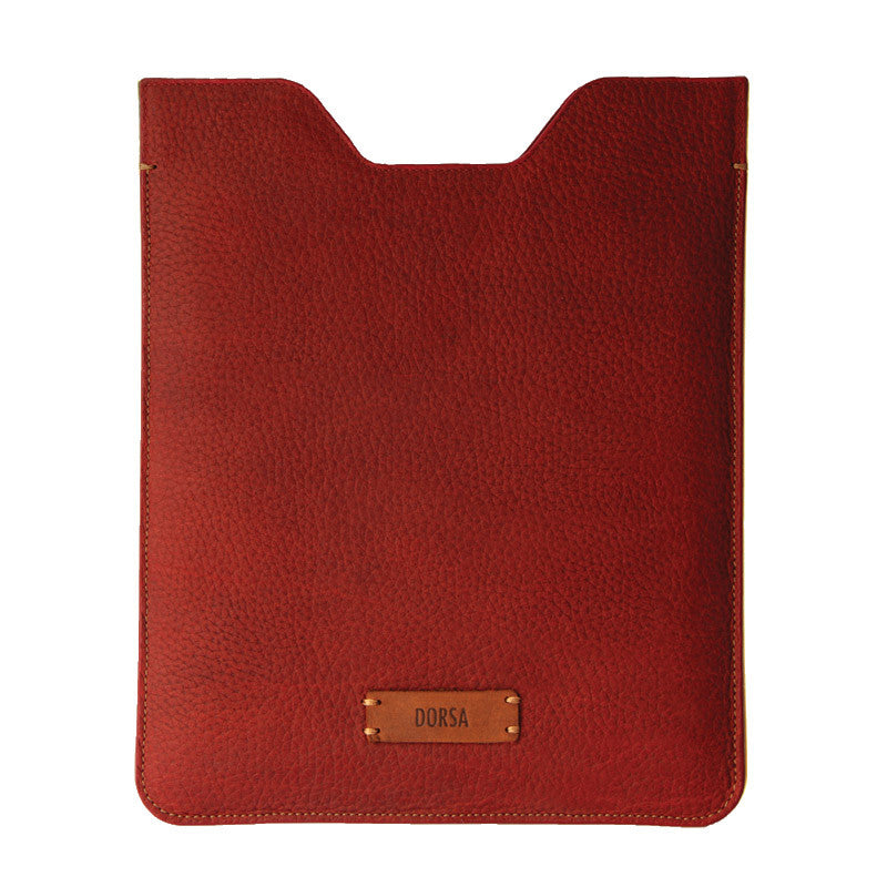 Premium Genuine Red Leather Sleeve Pouch for iPad - VORYA