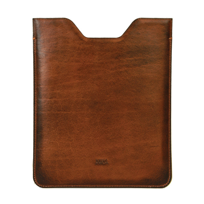 Premium Genuine Light Brown Cowboy Leather Sleeve Pouch for iPad - VORYA