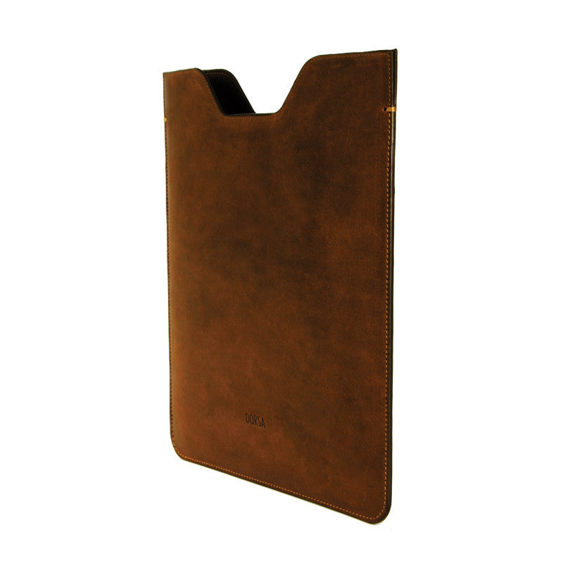 Premium Genuine Brown Crazy Horse Leather Sleeve Pouch for iPad - VORYA