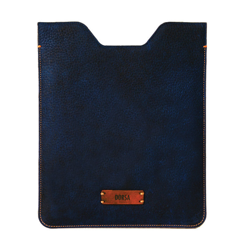 Premium Genuine Navy Blue Leather Sleeve Pouch for iPad - VORYA