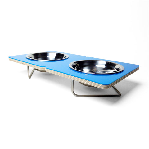 Blue Boxer Elevated Pet Feeder