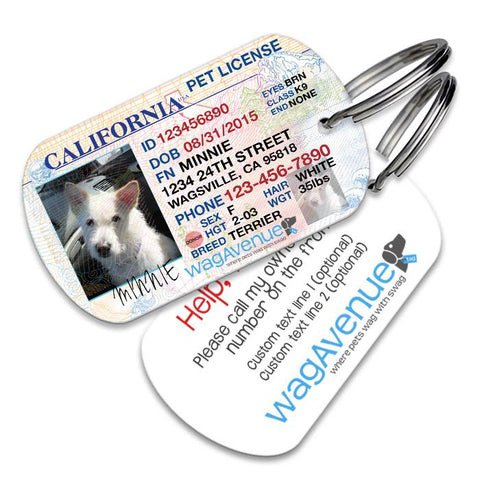 California Driver's License Pet Tag - Updated New Version - WagAvenue - 1