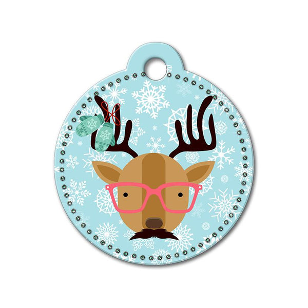 Reindeer with Glasses Holiday Dog Tag - WagAvenue - 1
