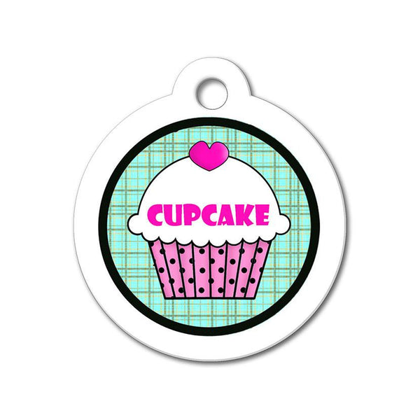 Pink Cupcake with Teal Pattern - Cute Pet Tag - WagAvenue - 1