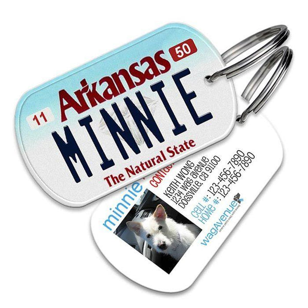 Arkansas License Plate Pet Tag - WagAvenue - 1