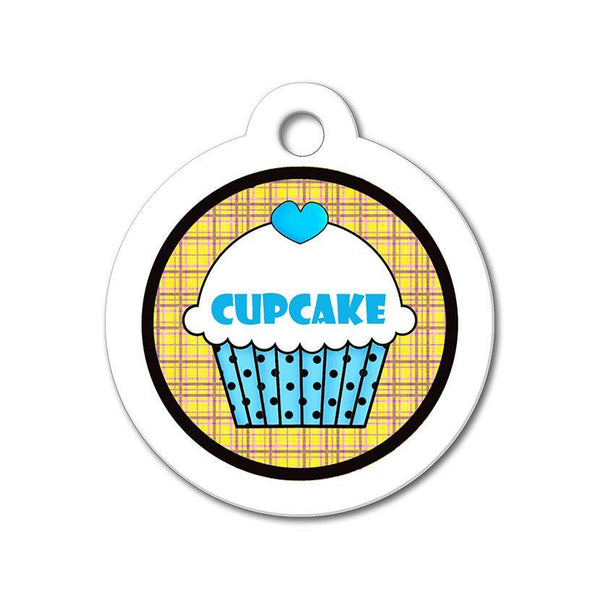 Blue Cupcake with Orange Pattern - Cute Pet Tag - WagAvenue - 1