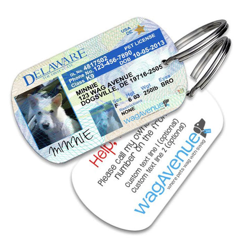Delaware Driver's License Pet Tag - WagAvenue - 1