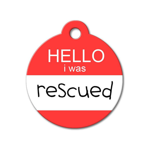 Hello I Was Rescued - Rescue Pet Tag - WagAvenue - 1