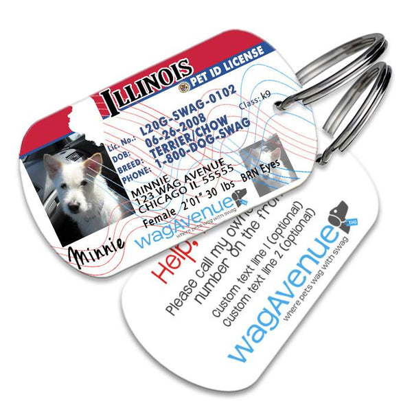 Illinois Driver's License Pet Tag - WagAvenue - 1