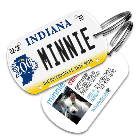 Indiana License Plate Pet Tag - WagAvenue - 1