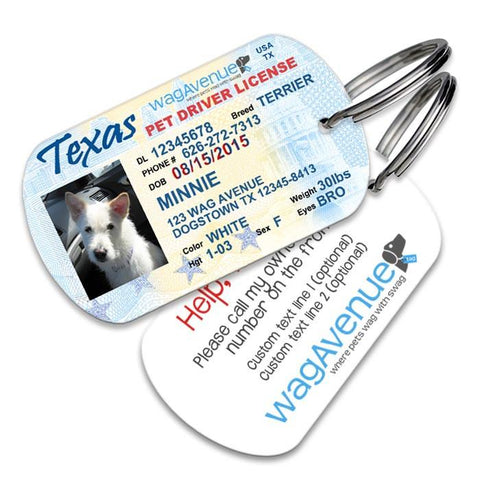 Texas Driver's License Pet Tag - WagAvenue - 1