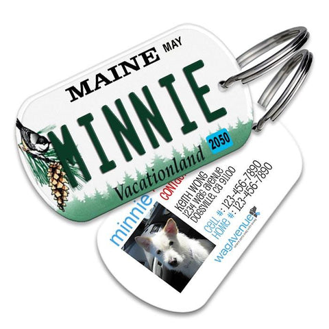Maine License Plate Pet Tag - WagAvenue - 1