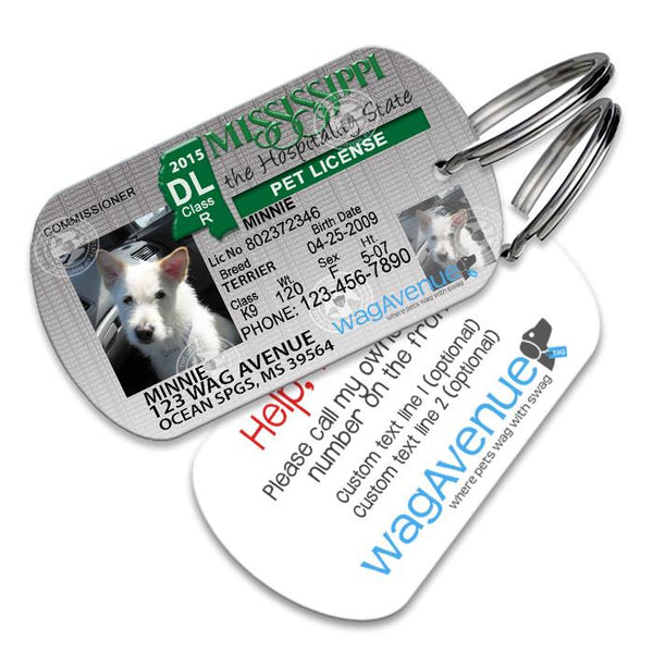 Mississippi Driver's License Pet Tag - WagAvenue - 1