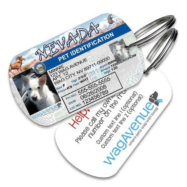 Nevada Driver's License Pet Tag - WagAvenue - 1