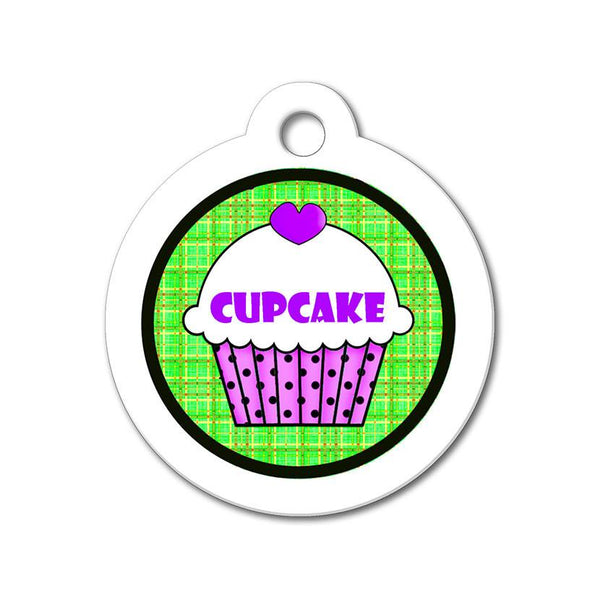 Purple Cupcake with Green Pattern - Cute Pet Tag - WagAvenue - 1