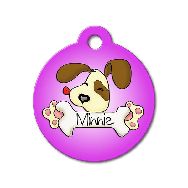 Purple Cute Puppy Licking Bone - Cute Pet Tag - WagAvenue - 1