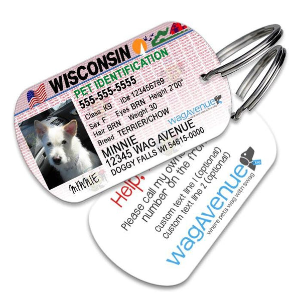 Wisconsin Driver's License Pet Tag - WagAvenue - 1