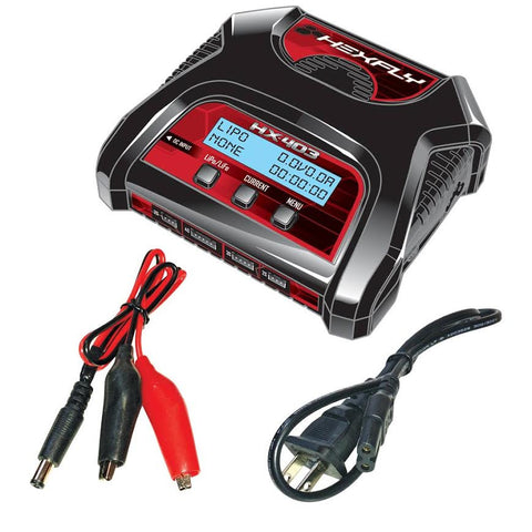 HX-403 Dual Port 2S, 3S, 4S AC/DC LiPo LiFe Battery Charger