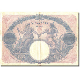 France, 5 Francs, 50 F 1889-1927 ''Bleu et Rose'', 1917, KM:72a, 1917-05-05