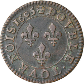 Coin, France, Double Tournois, 1605, Paris, EF(40-45), Copper, CGKL:222