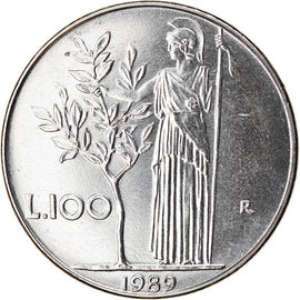 Coin, Italy, 100 Lire, 1989, Rome, MS(63), Stainless Steel, KM:96.1