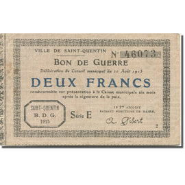 France, Saint-Quentin, 2 Francs, 1915, EF(40-45), Pirot:02-2057